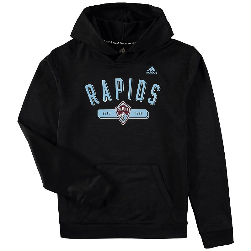 Youth adidas Heathered Navy Colorado Rapids Ultimate Pullover Hoodie. Boy's. Size: YTH Large. Grey