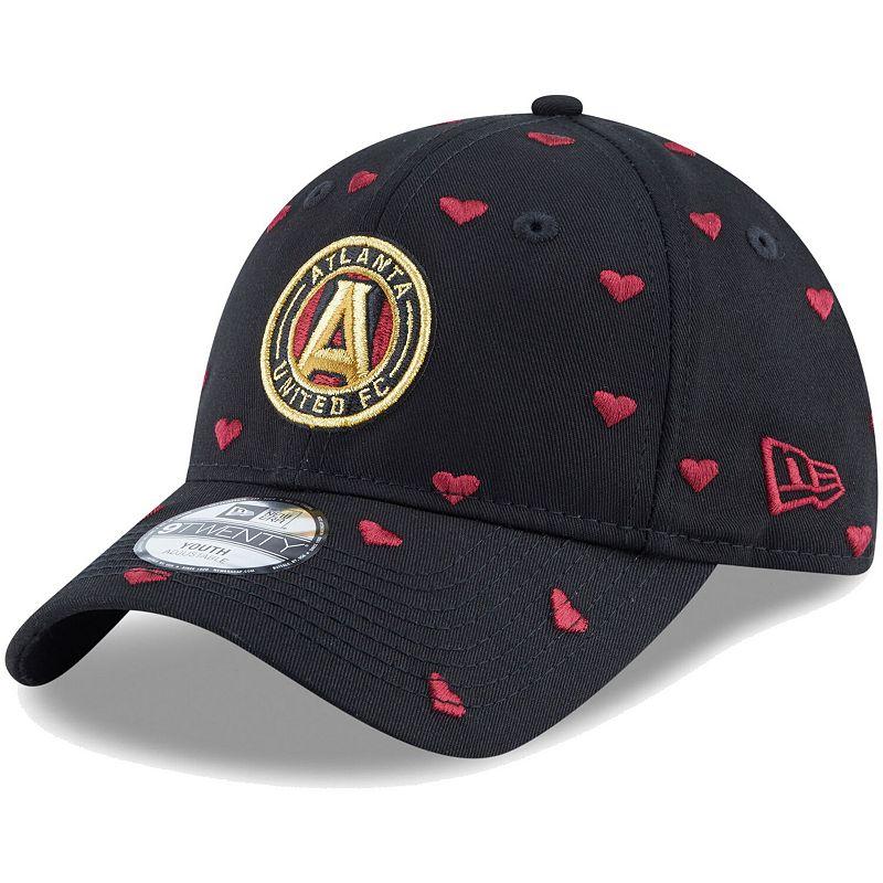 Girls Youth New Era Black Atlanta United FC Lovely Fan 9TWENTY Adjustable Hat
