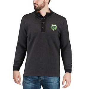 Men's Antigua Black Portland Timbers Pivotal Fleece Pullover Sweatshirt