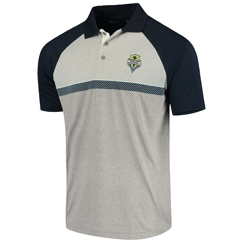 Men's Antigua White/Navy Seattle Sounders FC Momentum Polo. Size: Small