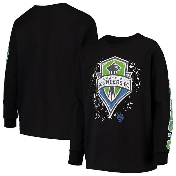 Seattle Sounders FC Youth Deconstructed Long Sleeve T-Shirt - Black