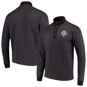 Men's Antigua Black Seattle Sounders FC Pivotal Fleece Pullover Sweatshirt