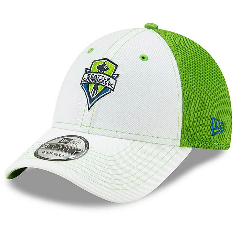 Men's New Era White Seattle Sounders FC Team Stitch Neo 9FORTY Adjustable Hat