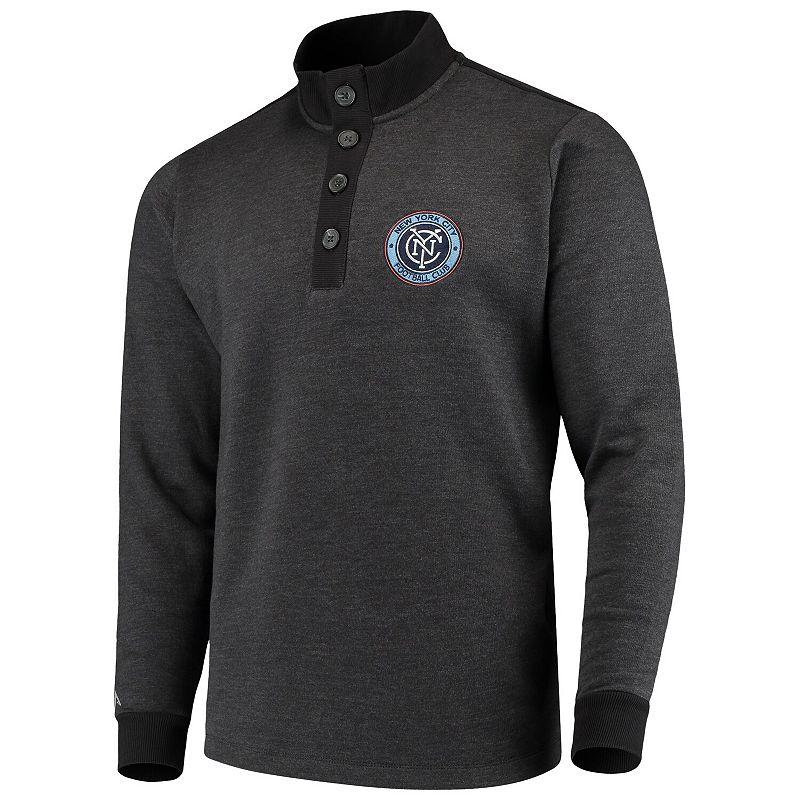 Men's Antigua Black New York City FC Pivotal Fleece Pullover Sweatshirt. Size: Small