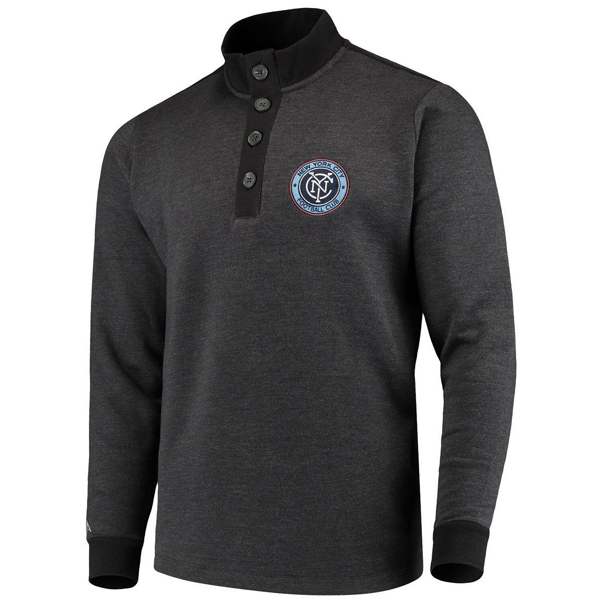 Men's Antigua Black New York City FC Pivotal Fleece Pullover Sweatshirt W7kQr