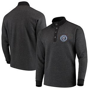 Men's Antigua Black New York City FC Pivotal Fleece Pullover Sweatshirt