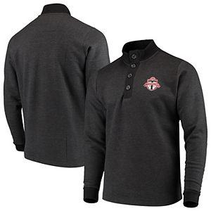 Men's Antigua Black Toronto FC Pivotal Fleece Pullover Sweatshirt