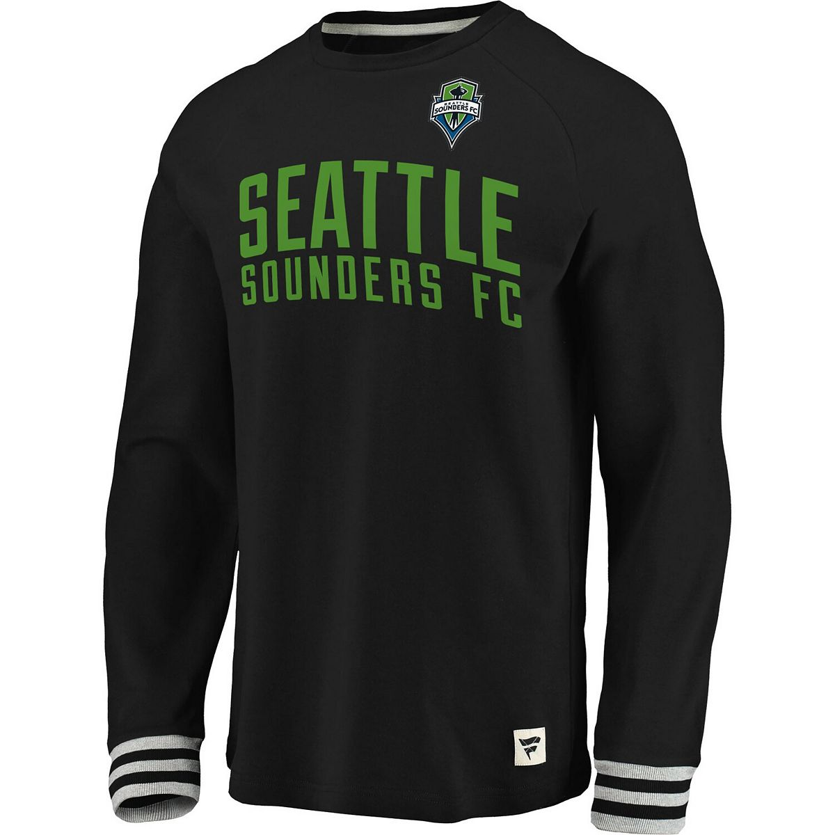 Men's Fanatics Branded Black/Heathered Gray Seattle Sounders FC Heritage Long Sleeve T-Shirt p5CC8