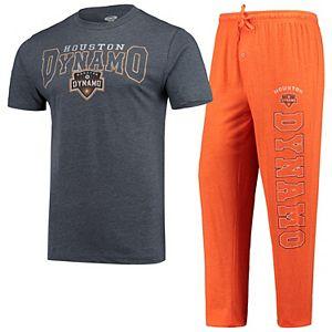 Men's Concepts Sport Charcoal/Orange Houston Dynamo T-Shirt & Pants Sleep Set