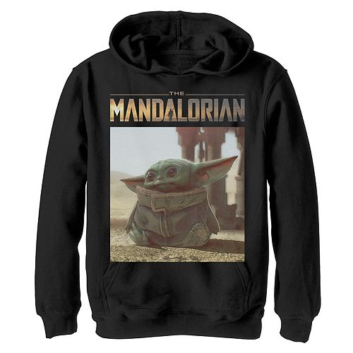 Boys 8-20 Star Wars The Mandalorian The Child aka Baby Yoda Portrait Logo Pullover Hoodie