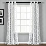 Lush Decor 2-pack Avon Trellis Grommet Sheer Window Curtain Set
