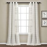 Lush Decor 2-pack Farmhouse Textured Grommet Sheer Window Curtain Set
