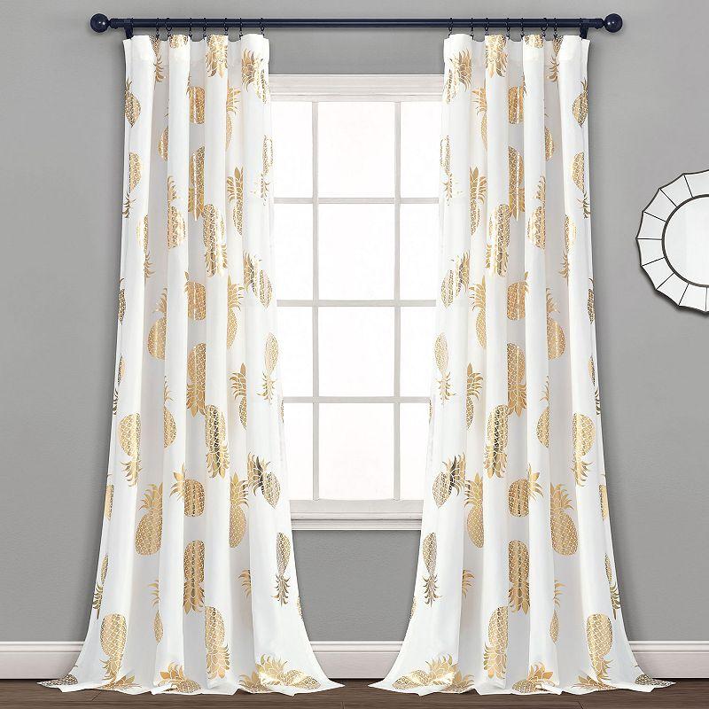 Lush Decor 2-pack Pineapple Toss Window Curtain Set. Gold. 52X95