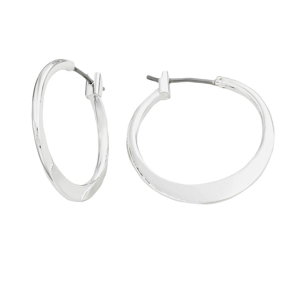 Napier® Silver-Tone Flat Hoop Earrings