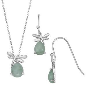 Sterling Silver Jade Dragonfly Pendant & Earring Set