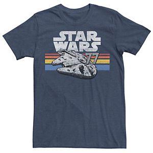 Men's Star Wars Millennium Falcon 77 Retro Lines Logo Tee