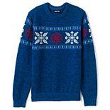 Men's Lands' End Lighthouse Snowflake Fairisle Wool-Blend Crewneck Sweater