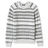 Men's Lands' End Lighthouse Snowflake Fairisle Wool-Blend Crewneck Sweater