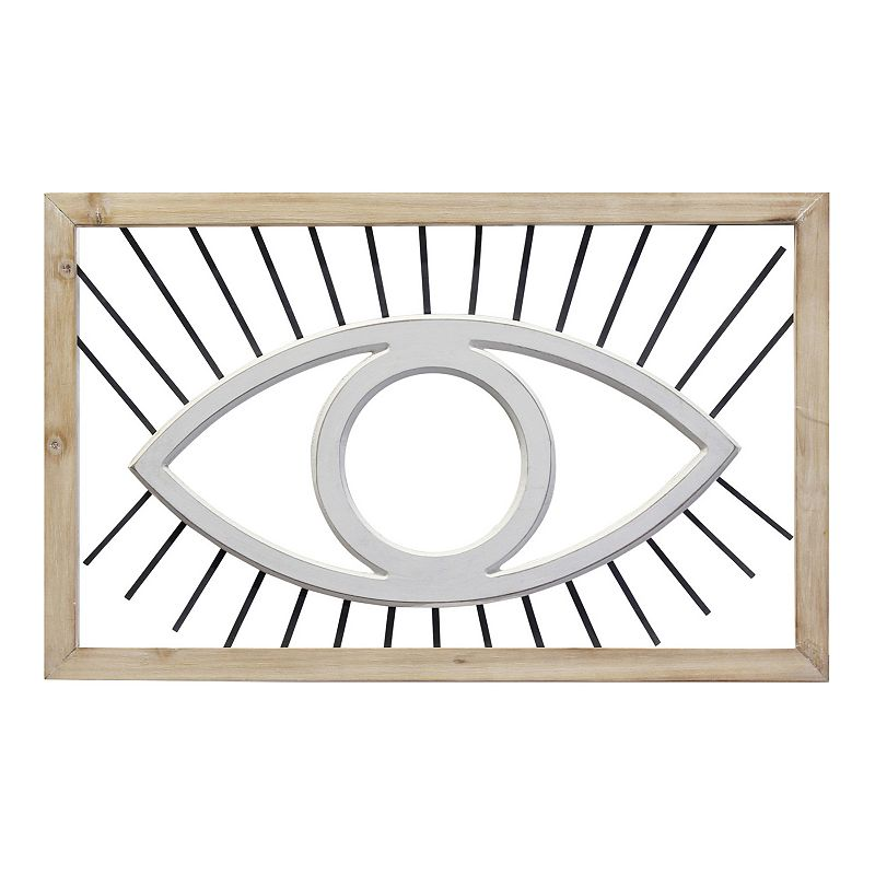 Stratton Home Decor Eye Wall Decor, White Keep an eye on your decor with this Stratton Home Decor Eye Wall Decor. Keep an eye on your decor with this Stratton Home Decor Eye Wall Decor. Fun eye design 12.50 H x 20.08 W x 0.59 D Weight: 1.19 lbs. Wood, metal, MDF Attached sawtooth hook Horizontal display Wipe clean Imported Size: One Size. Color: White. Gender: unisex. Age Group: adult.