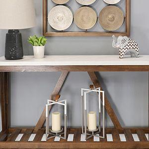 Stratton Home Decor Two-Tone Farmhouse Lantern Floor Decor