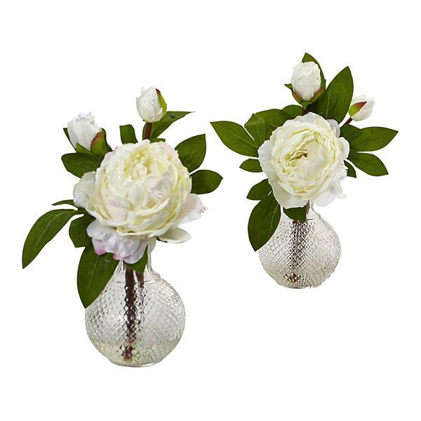 Nearly Natural Artificial Peony Floral Arrangement 2 Piece Set