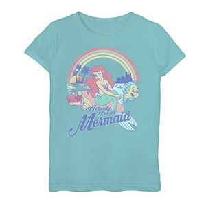 Disney's The Little Mermaid Girls 7-16 Pastel Rainbow Retro Graphic Tee