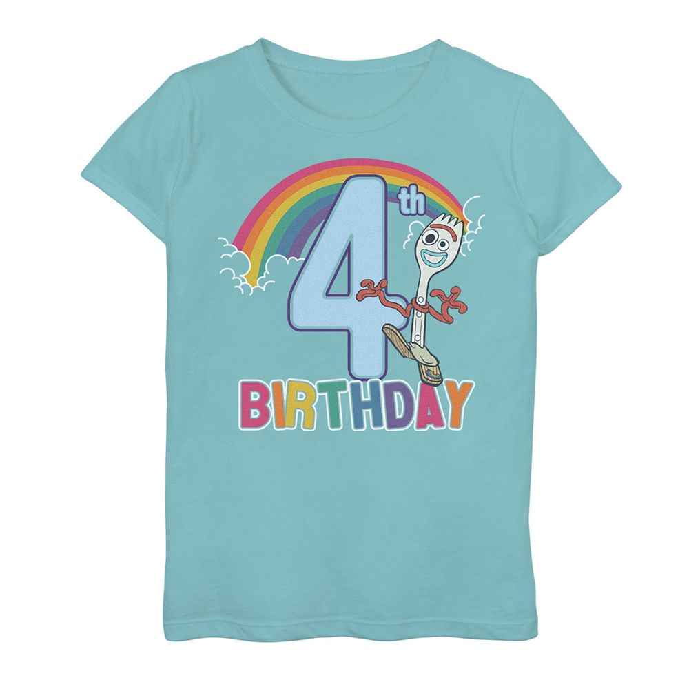 Disney / Pixar Toy Story 4 Girls 7-16 Forky 4th Rainbow Birthday Graphic Tee
