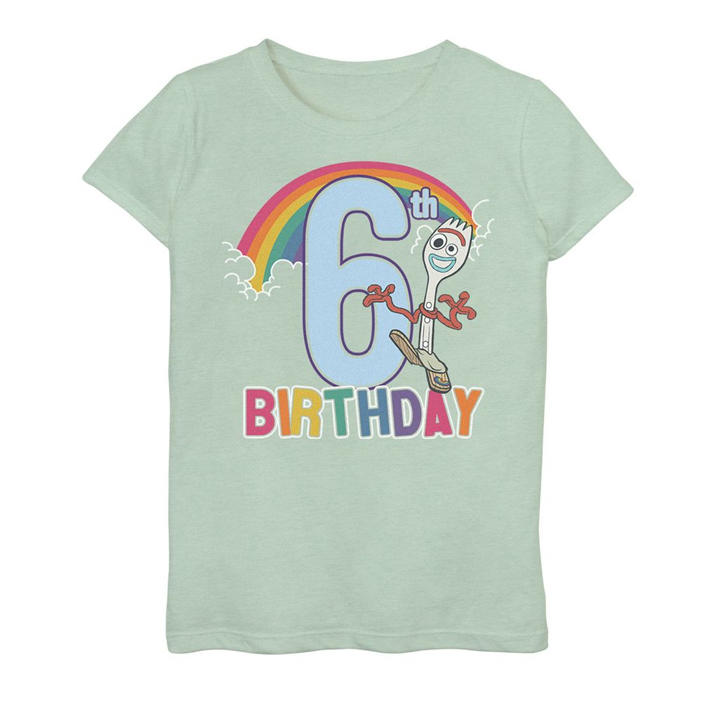 Disney / Pixar Toy Story 4 Girls 7-16 Forky 6th Rainbow Birthday Graphic Tee