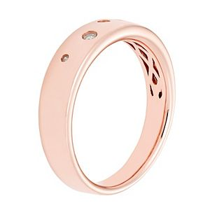 Boston Bay Diamonds Pink Rhodium Sterling Silver 1/10 Carat T.W. Scattered Diamond Ring