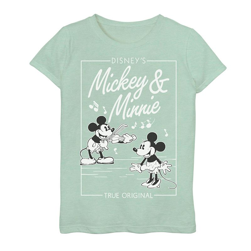 Disney's Mickey Mouse & Minnie Mouse Girls 7-16 Mouse Vintage Comic Graphic Tee. Girl's. Size: Small. Green