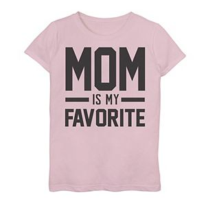 Girls 7-16 Mom Is My Favorite Bold And Pink Graphic Tee