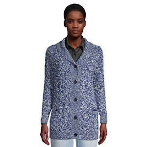 Women's Lands' End Drifter Cable Knit Shawl Cardigan Sweater