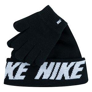 Boys 8-20 Nike Pom Beanie & Gloves Set