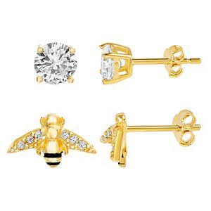 petit cheris 2 Pair 14k Gold Over Sterling Silver Cubic Zirconia Stud & Bee Stud Earring Set