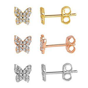 petit cheris 3-Pair Tri-Tone Cubic Zirconia Butterfly Stud Earring Set