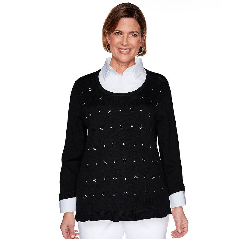 Petite Alfred Dunner Beaded Sweater with Woven Trim. Women's. Size: Small Petite. Black