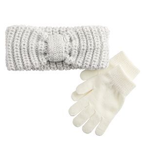 Girls 4-16 SO® Knit Headwrap with Glove Set