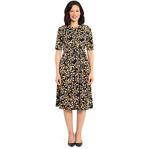Petite Suite 7 Swirl Floral Fit & Flare Dress