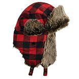 Men's Urban Pipeline? Buffalo Check Trapper Hat with Faux Fur Trim