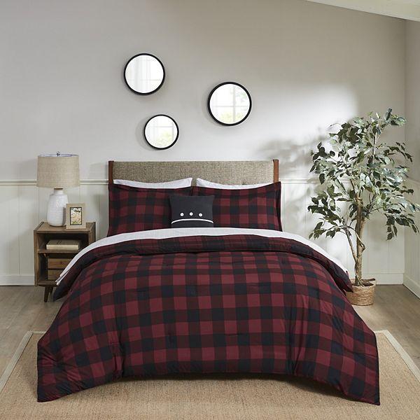 Madison Park Essentials Colebrook Red Buffalo Check Plaid Reversible Comforter Set
