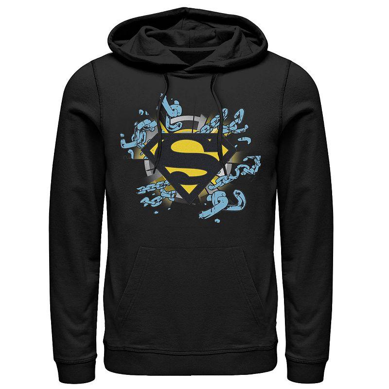 Men's DC Comics Superman Chain Link Logo Hoodie. Size: Small. Black