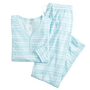 Women's Croft & Barrow® Knit Long Sleeve Pajama Shirt & Pajama Pants Set