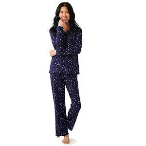 Women's Croft & Barrow® Knit Long Sleeve Pajama Shirt & Pajama Pants Set