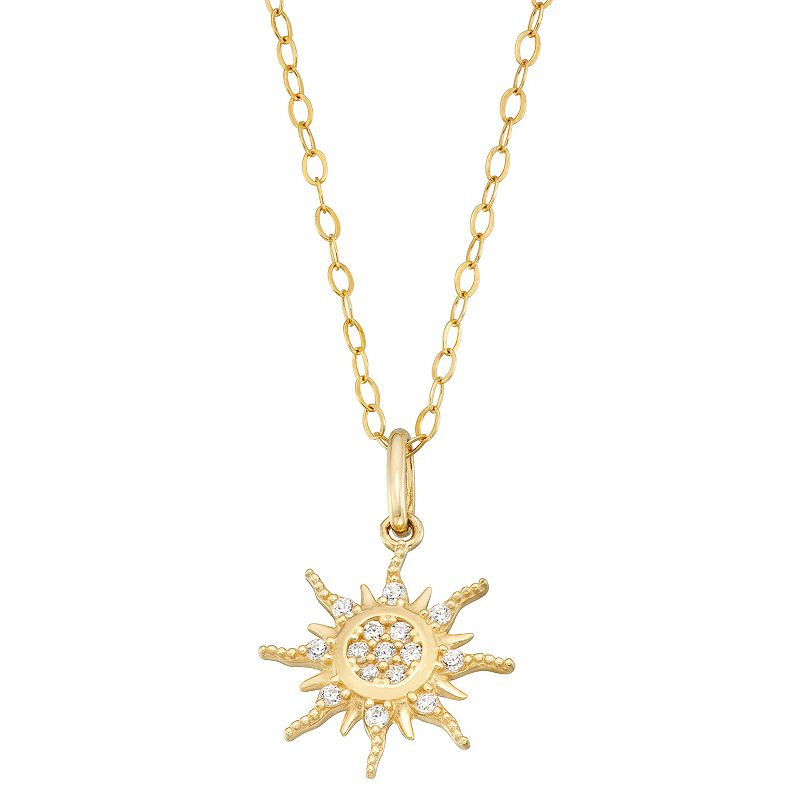 """Forever Radiant 10k Gold Cubic Zirconia Sunburst Pendant Necklace. Women's. Size: 18"""". White"""