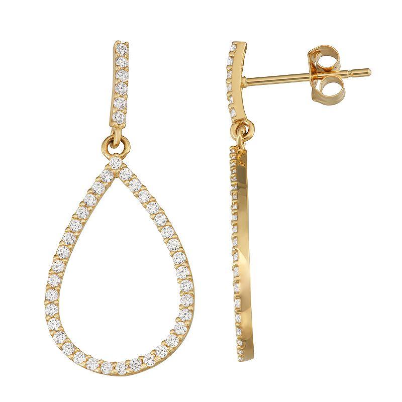 Forever Radiant 10k Gold Cubic Zirconia Teardrop Dangle Earrings. Women's. White