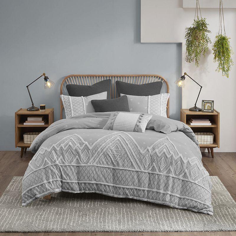 INK + IVY Marta 3-piece Cotton Comforter Set. Grey. Full/Queen