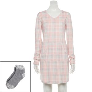 Women's Croft & Barrow® Velour Sleepshirt & Socks Set