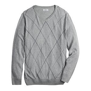 Men's Croft & Barrow® 12GG Argyle V-neck Sweater