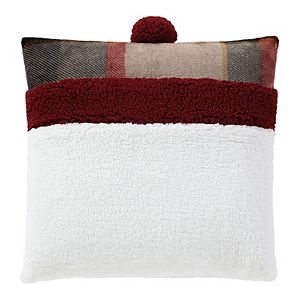 Cuddl Duds Snowman Face Sherpa Embroidered Throw Pillow