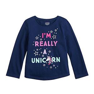 Toddler Girl Jumping Beans® Long-Sleeve Shirtttail Tee
